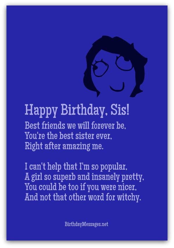 Funny happy birthday poems for sister joke
