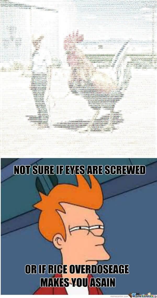 Funniest glorious fry squinty eyes meme image