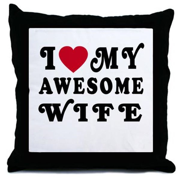 Funny I Love My Awesome Wife Throw Pillow Picture
