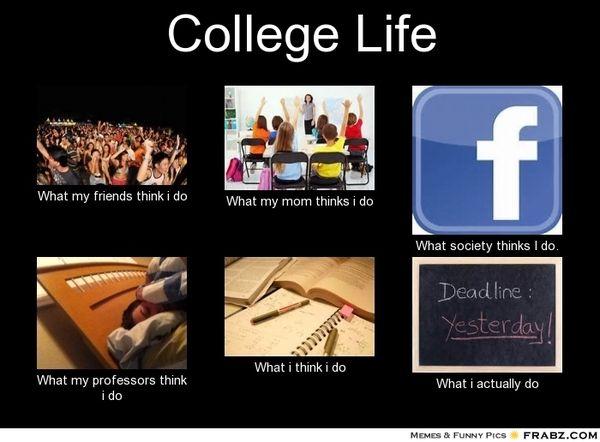 Funny college life memes jokes