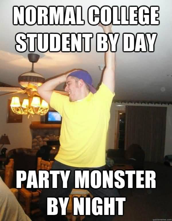 Funny drunk college student meme photo