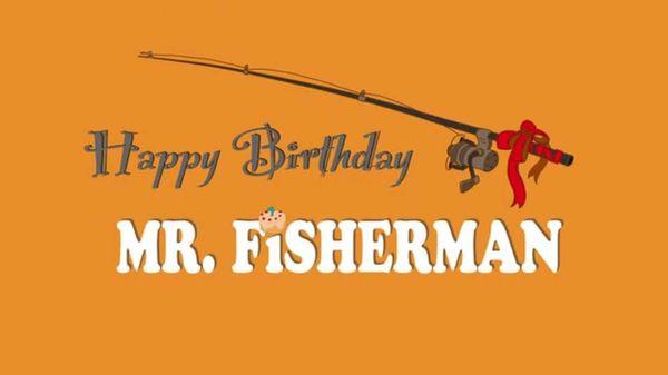 Funny happy birthday fisherman photo
