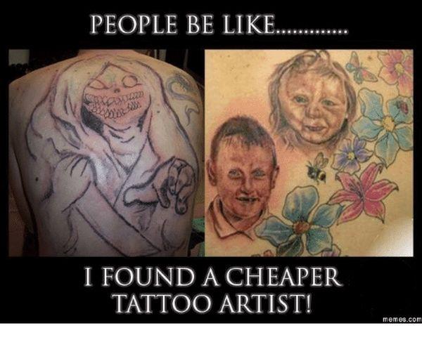 Hilarious tattoo artist meme photo