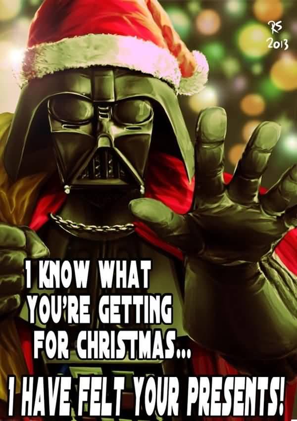 Amusing star wars vader christmas meme joke