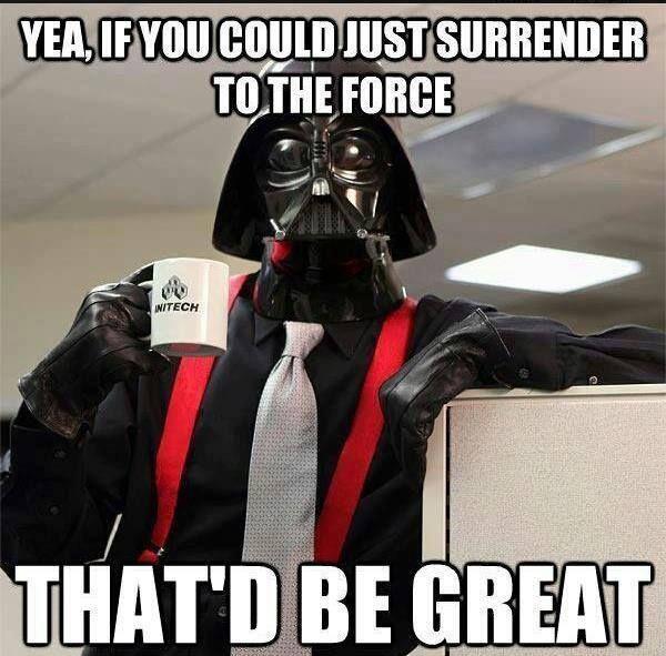 Amusing star wars vader in office meme jokes