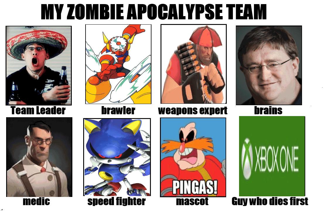 Zombie Apocalypse Team Meme Funny Joke 02