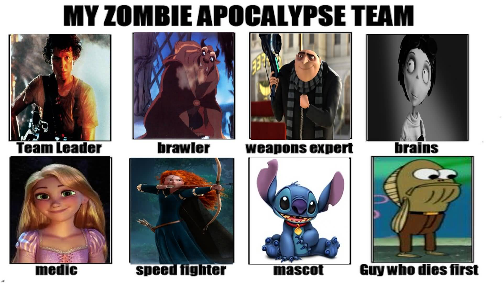 Zombie Apocalypse Team Meme Funny Joke 03