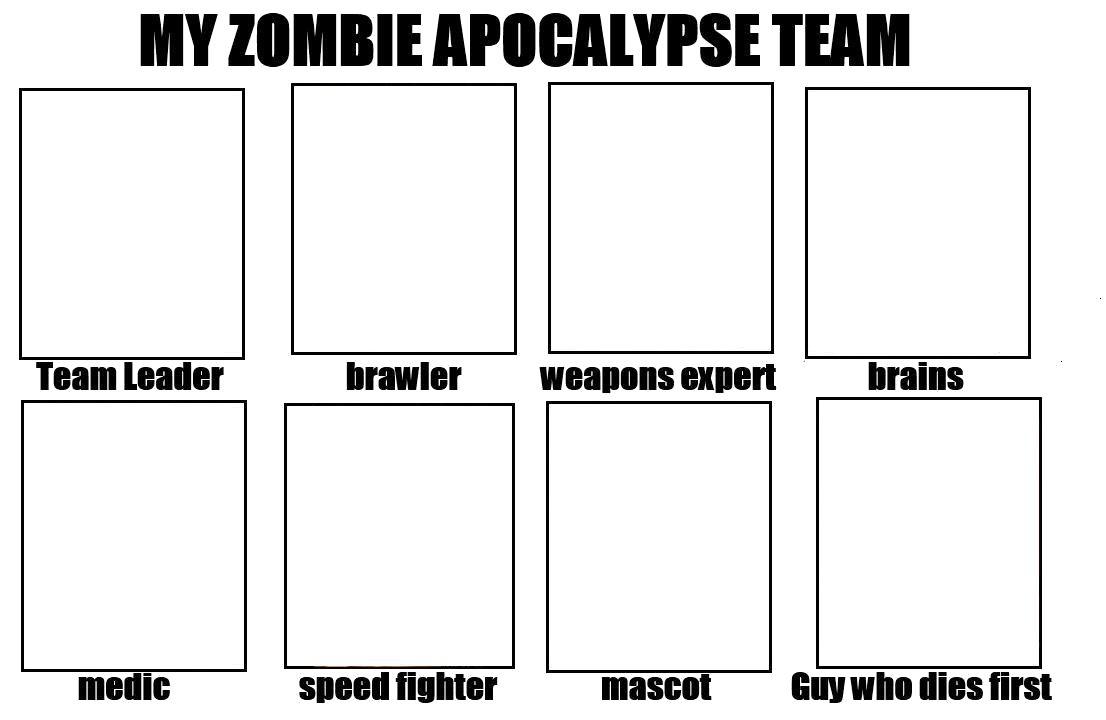 Zombie Apocalypse Team Meme Funny Joke 09