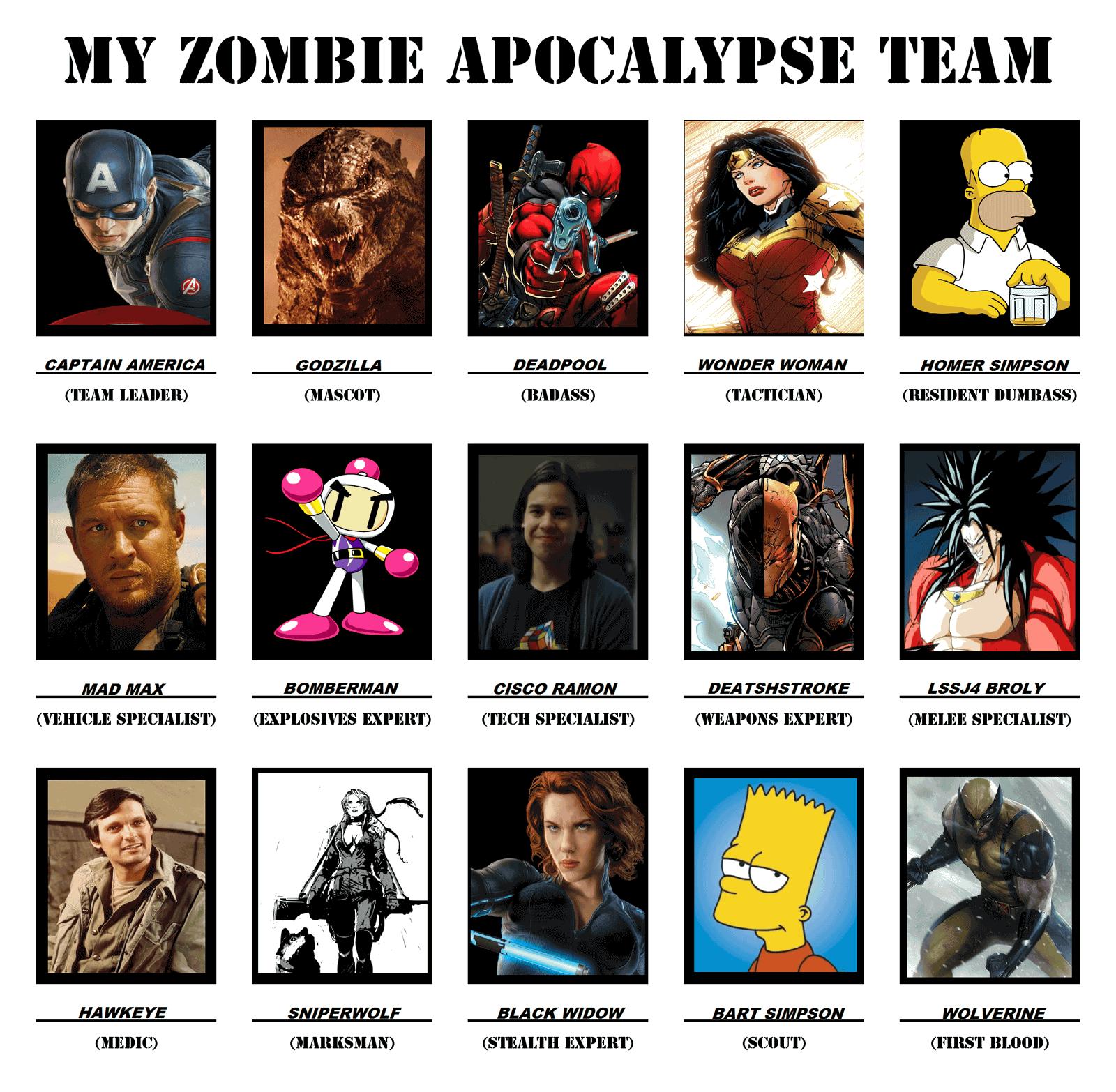 Zombie Apocalypse Team Meme Funny Joke 10