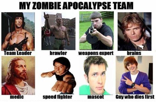 Zombie Apocalypse Team Meme Funny Joke 11