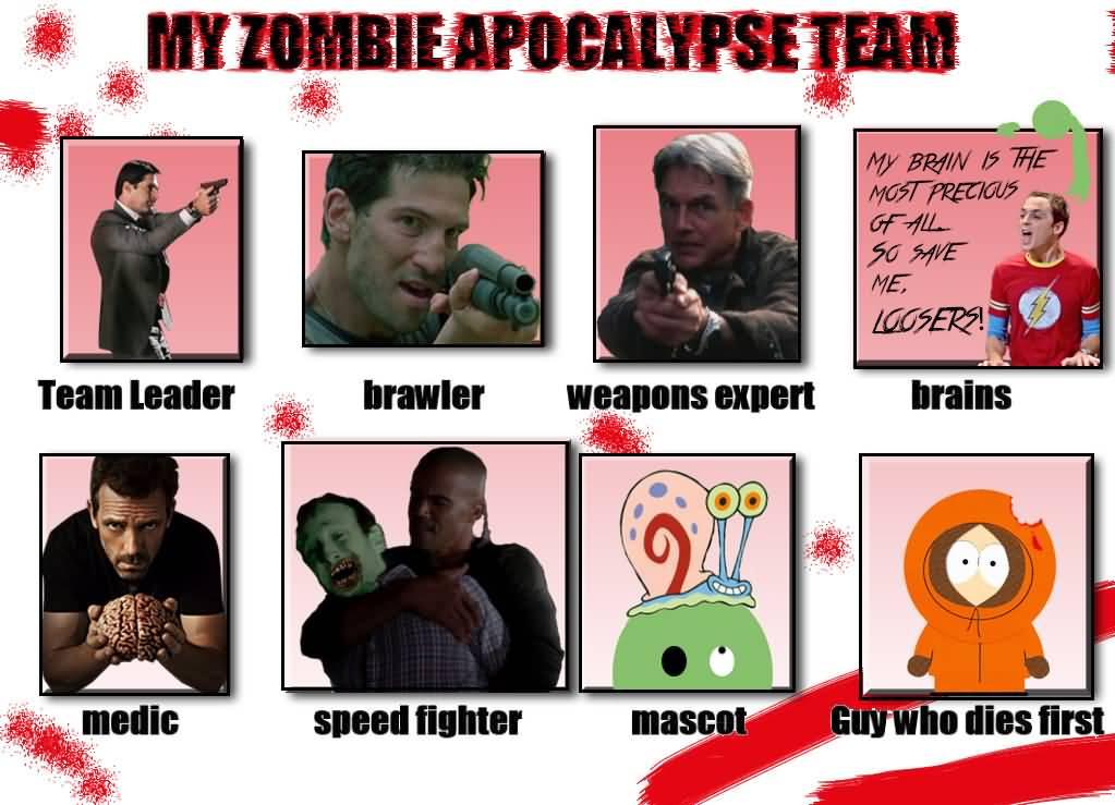 Zombie Apocalypse Team Meme Funny Joke 15
