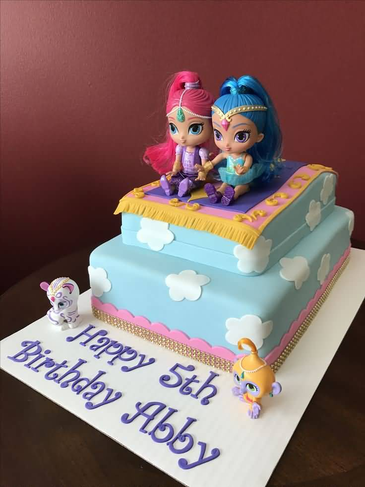 Shimmer and Shine Birthday Cake Image Photo Party 06