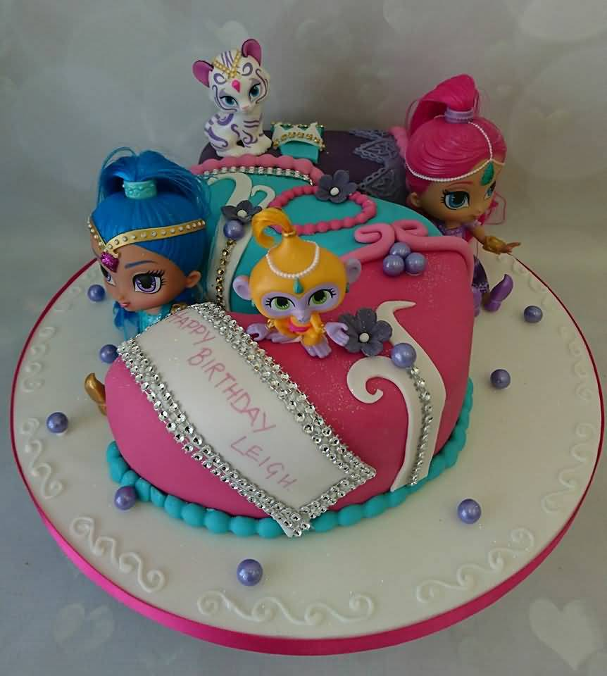 Shimmer and Shine Birthday Cake Image Photo Party 09