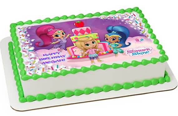 Shimmer and Shine Birthday Cake Image Photo Party 12