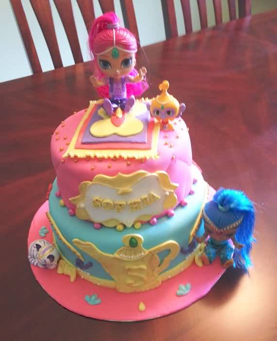 Shimmer and Shine Birthday Cake Image Photo Party 13
