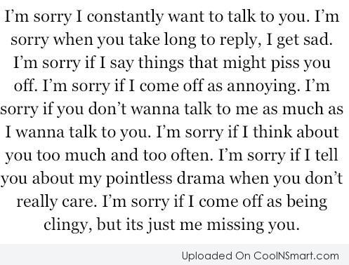 I'm Sorry I Constantly Want To Talk