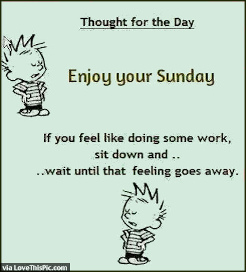 Enjoy Your Sunday If You Feel Like
