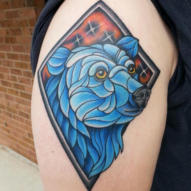 Amazing Blue Ink Animated Bear Head Tattoo For Men Shoulder