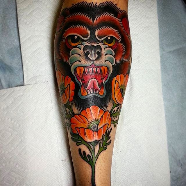 Amazing Colorful Ink Bear Face Flower Tattoo For Men Shin or Leg