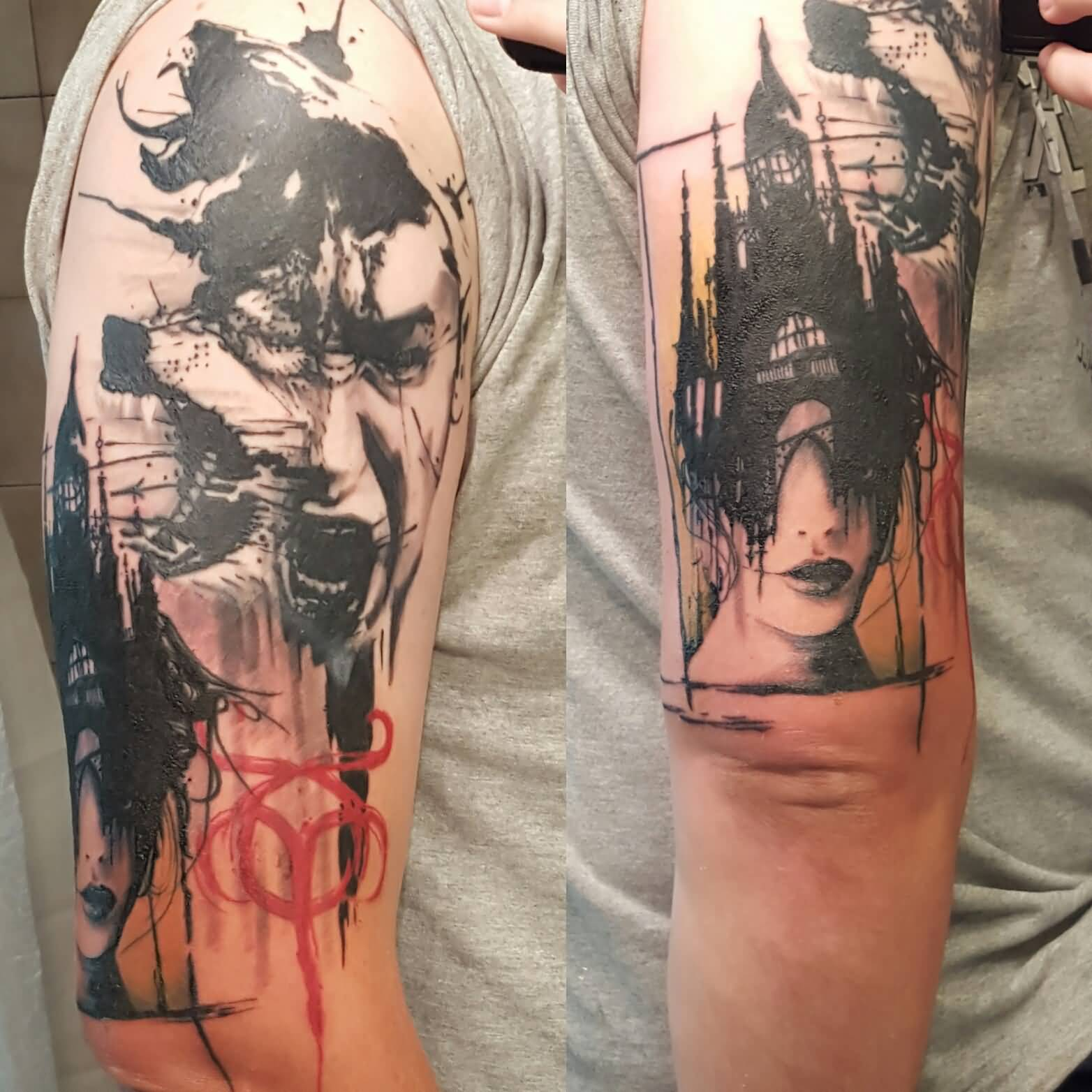 Amazing Depression Tattoo Design Made On Man Arm