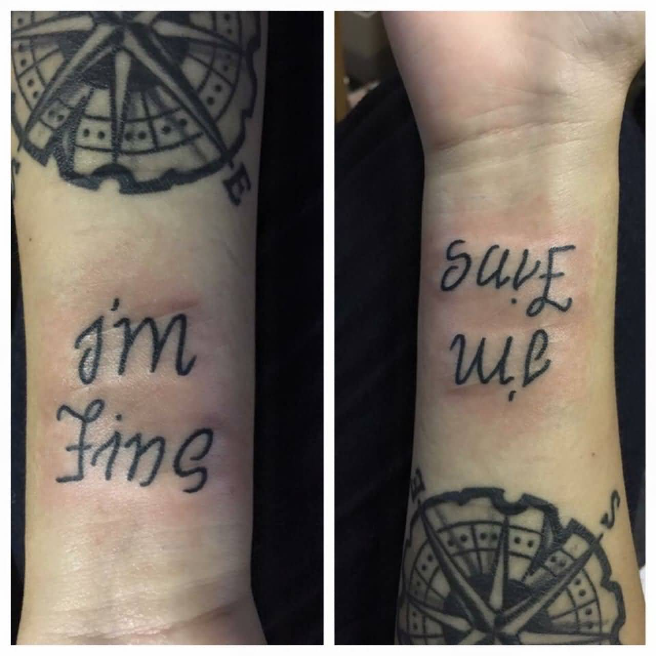 Ambigram And Compass Depression Tattoo On Arm For Men