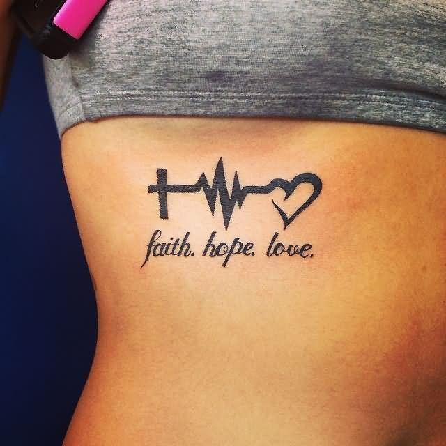 Black Ink Heartbeat Cross EKG Heart Tattoo Deisgn With Faith Hope Love On Girl Ribs