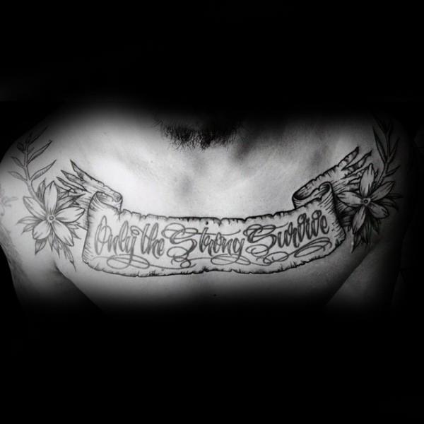 Coolest Black Ink Old Vintage Banner and Flower Tattoo On Men Chest