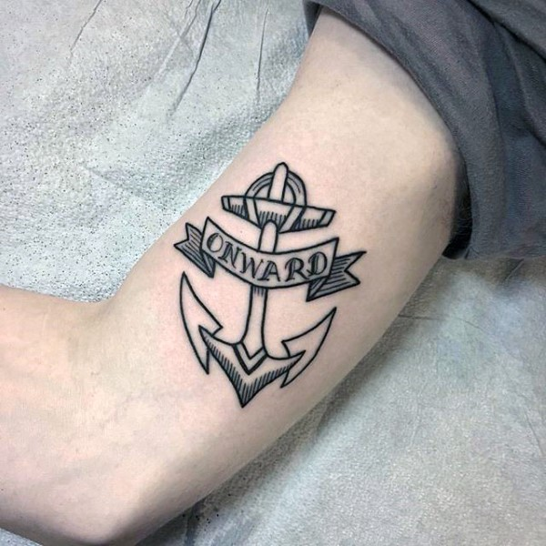 Coolest Black Ink Small Anchor Banner Onward Tattoo On Men Biceps Or Inner Arm