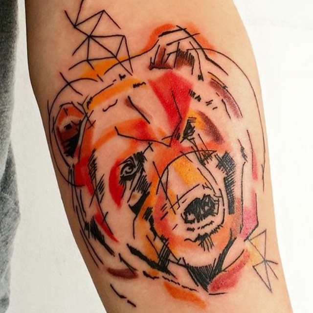 Coolest Watercolor Bear Face Painting Tattoo On Men Lower Sleeve or Arm