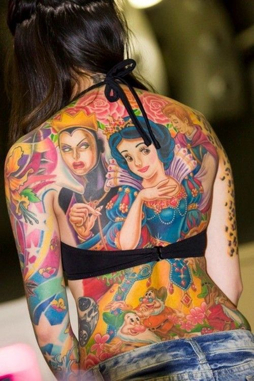 Fantastic Colorful Animated Disney Cartoon Tattoo For Women Full Back