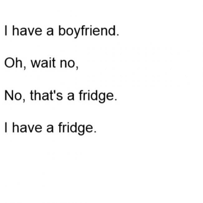 Funny Single Memes I have a boyfriend oh wait no no that's a fridge