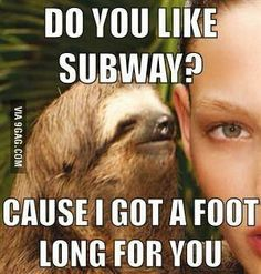 Funny Sloth Rape Memes Do you like subway cause i got a foot long for you Pictures