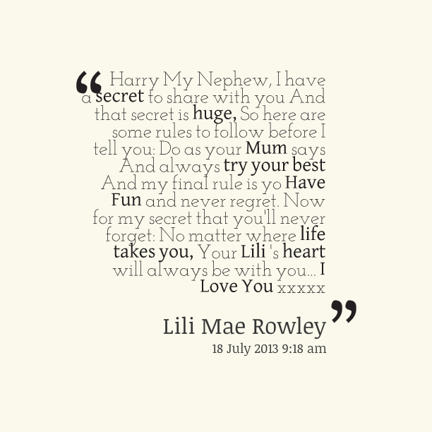 Harry May Nephew I Have I Love My Nephew Quotes And Sayings