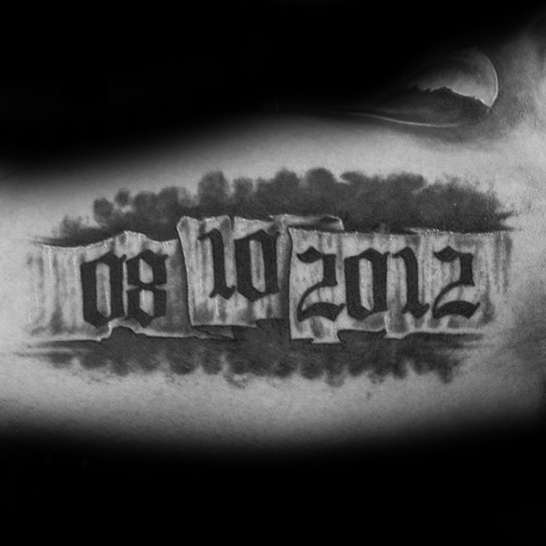Mind Blowing Memorial Banner Tattoo For Men Forearm
