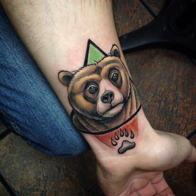 Outstanding 3d Animated Brown Bear Paw Tattoo For Men Wrist