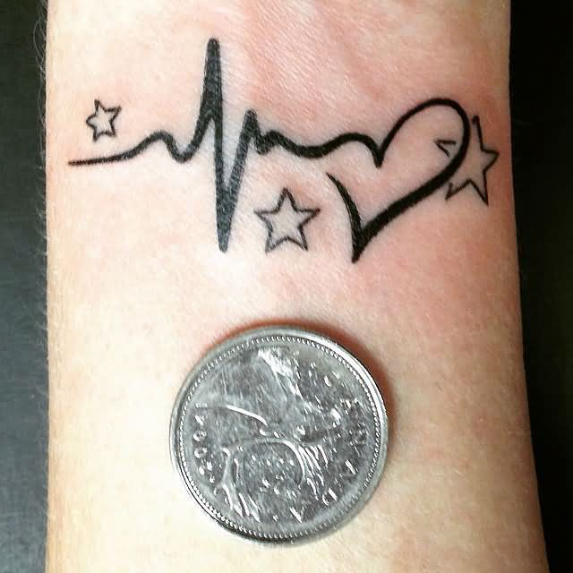 Outstanding Heart Star Coin Small Black Ink Tattoo For Women Wrist
