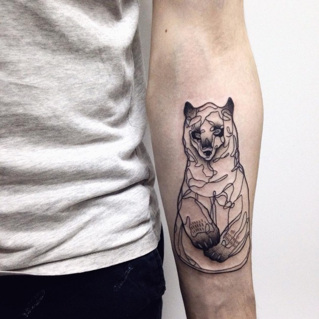 Unique Grey Ink Small Bear Baby Tattoo Design On Men Lower Arm