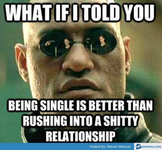 What if i told you being single is better than rushing into Funny Single Memes