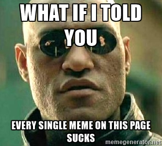 What if i told you every single meme on this page sucks Funny Single Memes