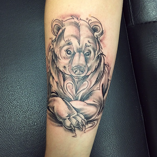 Wonderful Grey Ink Bear Tattoo Design For Lower Sleeve