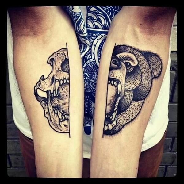 Wonderful Half Bear Face and Skull Skull Tattoo For Both Arm