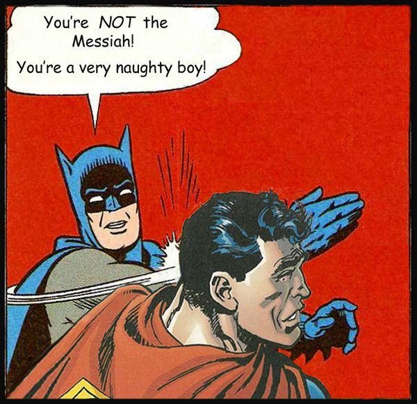 Batman Slaps Superman Humor Joke