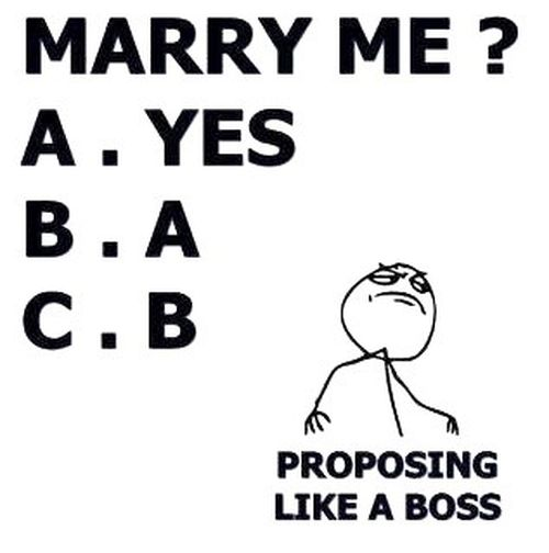 Marry Me A. Yes B. A C. B Proposing Like A Boss Funny Love Memes For Her