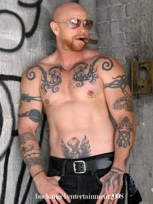 Bald Buck Angel Showing His All Body Tattoos