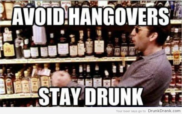 Funny drunk hangover meme joke