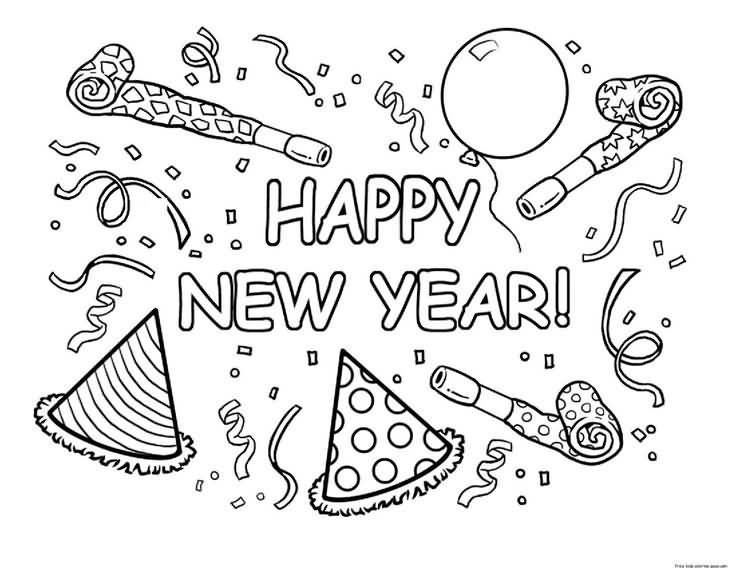 New Year 2018 Coloring Pages Template Image Picture Photo Wallpaper 01