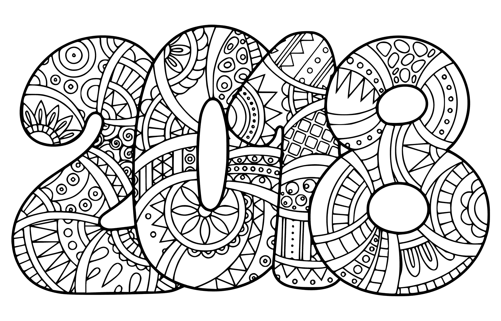New Year 2018 Coloring Pages Template Image Picture Photo Wallpaper 02