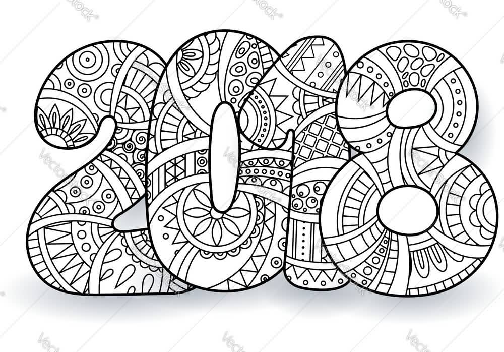 New Year 2018 Coloring Pages Template Image Picture Photo Wallpaper 03
