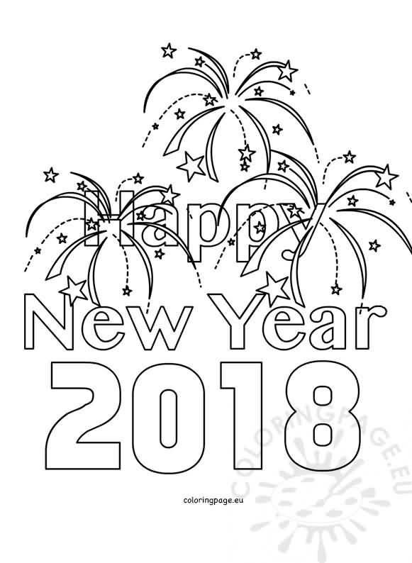 New Year 2018 Coloring Pages Template Image Picture Photo Wallpaper 04