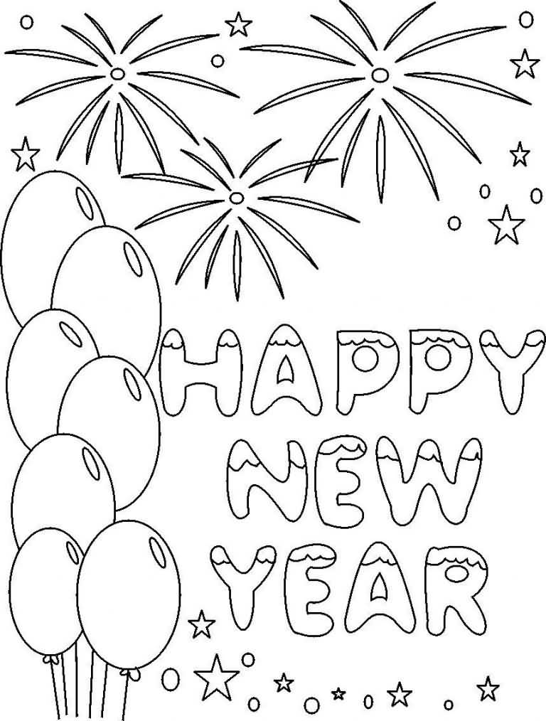 New Year 2018 Coloring Pages Template Image Picture Photo Wallpaper 05
